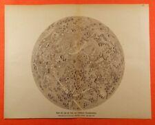 Karte der von der Erde sichtbaren Mondoberfläche 1671 Mond    DRUCK von 1903