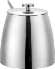Grunwerg 10oz Sugar Bowl With Lid Single Walled Mirror Stainless Steel Cafe Ole