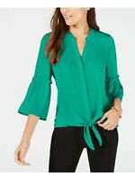 Alfani Top Button Down Tie Blouse Bell Sleeve Women Teal Green Sz M NEW NWT 397