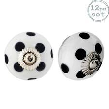 Ceramic Door Knobs Cabinet Drawer Handle Set, Polka Dot, White / Black - x12