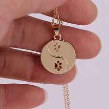 "Golden 3/4"" DOG CAT PAW Yin Yang Bagua Pendant Necklace 16"" Chain"
