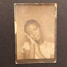 Photobooth Cute African American Girl Tilted Head Pose Short Hair Vintage