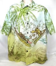 Disneyland Hawaiian Aloha Shirt L Mickey Mouse Tiki Hut Hammock Bahama