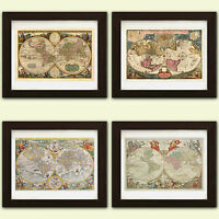 Vintage World Maps Antique reproduction  *4 FOR THE PRICE 3* collection of 4