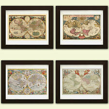 Collection of 4 Vintage Antique reproduction World Maps *4 FOR THE PRICE 3*