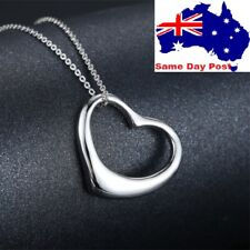 Silver Plated Glossy Heart Shaped Necklace Chain Pendant jewellery