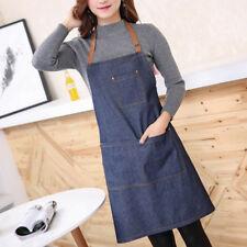 Adults Denim Blue Cooking Kitchen Restaurant Work Bib Apron Dress With Pocket