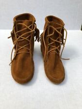 NWB Minnetonka Brown Suede Fringe Moccasin Ankle Tramper Boot Size 8m orig $62