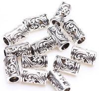 25pcs Tibetan Silver Tube Charm Loose Spacer Bead Bracelet Jewelry Finding 8x5mm