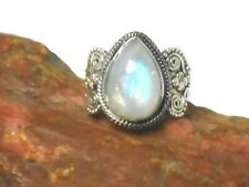 Fiery Teardrop MOONSTONE  Sterling  Silver  925  Gemstone  Ring  - (N)