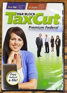 H&R Block Tax Cut Premium Federal + State 2008 Tax Year Windows and Mac CD-ROM