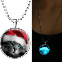 Women Animal Cat Glow in the Dark Necklace Pendant Christmas Hat Gift Luminous