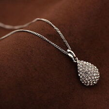 Fashion Women Crystal Rhinestone Gold Silver Teardrop Chain Pendant Necklace
