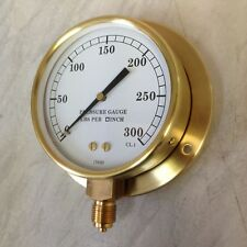 """6"""" Brass steam pressure gauge with back plate 0-300 psi"""