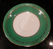 Vintage Aynsley Bone China Saucer Gold Rim Kelly Green / White MADE in ENGLAND