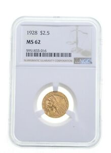 MS62 1928 $2.50 Indian Head Gold Quarter Eagle - Graded NGC *4867