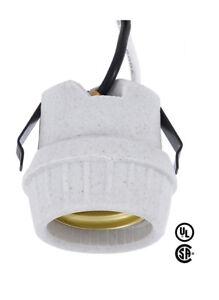 """SNAP-IN ~ E26 Medium Base Porcelain Lamp Holder Light Socket w/ 8"""" LEADS"""