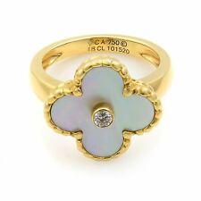 Van Cleef & Arpels Vintage Alhambra Mother-of-Pearl Diamond Gold Ring SZ 4.75