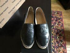 CHANEL Black Lambskin Leather Espadrilles CC Logo Flats Euro 40