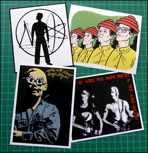 DEVO, Exclusive Set of FOUR Large Glossy Vinyl Promo Stickers, Duty Now, Booji +