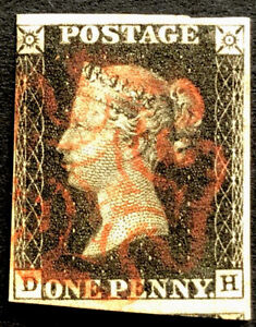 GB QV 1840 PENNY BLACK 'DH' POSSIBLY PLATE 05 TIED BY A RED 'MX' HIGH C.V£+++