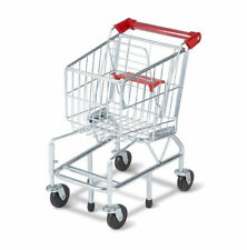 Melissa & Doug Kids Shopping Cart Folding Seat Metal Toy 10 Grocery Boxes