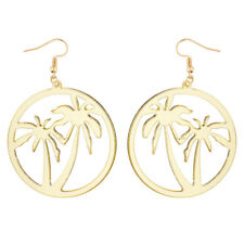 Tropical Summer Circle Dangle Earrings Lux Accessories Gold Tone Palm Trees