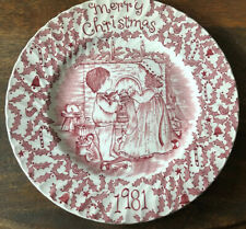 1981 Vintage Royal Crownford Staffordshire Merry Christmas Plate Red And White
