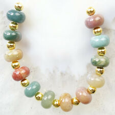12pcs Natural Genuine Indian Agate Rondelle Pendant Bead Set Q09641