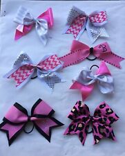 6 X 3� Professional Cheer Bow Flyer Jumper Nca Pink White Silver Chevron