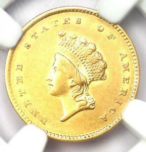 1854 Type 2 Indian Gold Dollar (G$1 Coin) - Certified NGC AU55 - Rare!