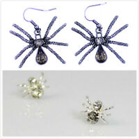 Punk biker style crystal spider earrings, multiple designs and colours