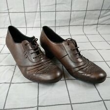 Rieker Brown Leather Heel Shoes Lace Up UK 5 EU38
