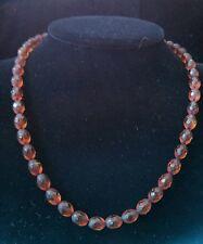 Vintage Faceted Bakelite Beads Necklace Golden Honey Amber Color