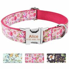 Floral Fabric Personalised Dog Collar Name ID Tag Custom Engraved Buckle Durable