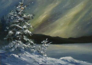 Winter Night Sky 5x7 orig oil painting Celene Farris Maine Northern Lights snow