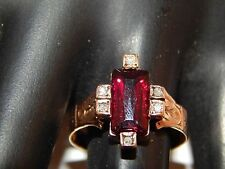 Antique Cut Natural Garnet Old Rose Cut Diamond Ring 14k YG 1.59 tcw Vintage