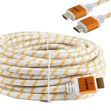Premium 75ft HDMI Cable braided For BLURAY 3D DVD PS4 XBOX LCD White HDTV 1080P