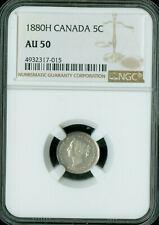 1880-H CANADA 5 CENTS NGC AU-50 NICE COIN *