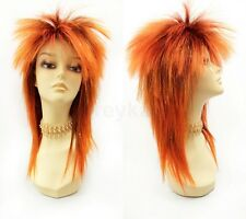 """Orange & Gold Tinsel Punk Rock Wig Spiky David Bowie Style Synthetic Costume 15"""""""