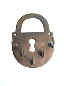 Vintage Large Brass Padlock Key Holder Handmade Western Art 1/2 Pound