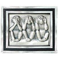 HR-IMOTION Relief Metall 3D Plakette Drei Affen Nichts sagen sehen hören