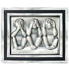Drei Affen Nichts hören sehen sagen Metall Relief 3D Plakette HR Art. 604 Magnet