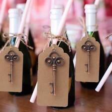 50x Key Bottle Skeleton Antique Opener With Kraft Tag Card Xmas Wedding Favours