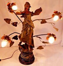 Antique Spelter Signed Figural Art Nouveau Newel Post 4-Light French Sculpture