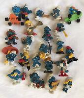 Vintage Lot 22 Smurfs Peyo Schleich PVC Figures Some Rare 1970's & 1980's