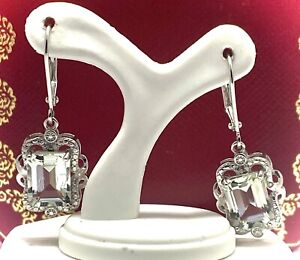 13.50ct Genuine Green Amethyst .925 Sterling Silver Leverback Dangle Earrings