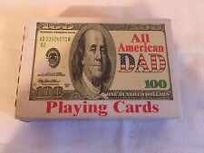 100% All Plastic Deck of Playing Cards with $100 Bill & All American Dad
