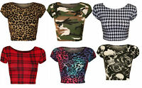 WOMENS LADIES CASUAL CAP SLEEVE PRINT PATTERN CROP JERSEY T SHIRT TOP 8-14,ASH
