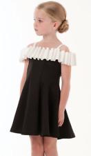 14 16 NEW Biscotti Girls Runway Status Black White Pleated Shoulder Tween Dress